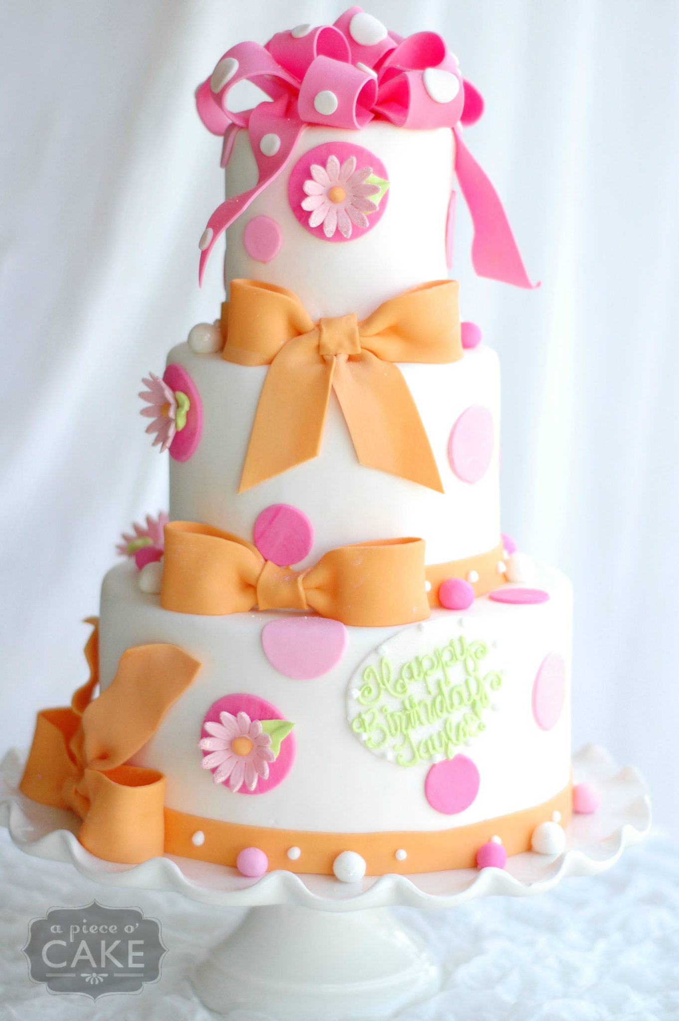 Baby Shower Cakes Orange Pink And Gold